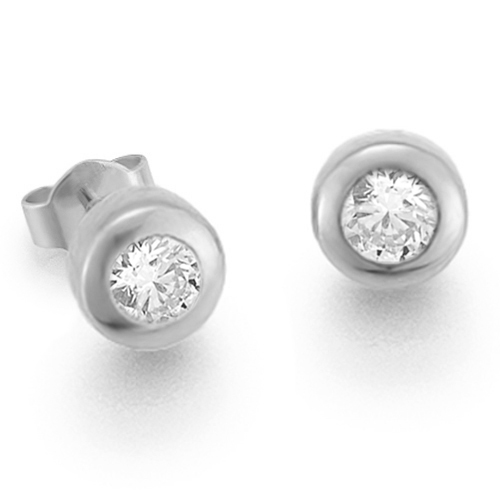 Diamantohrstecker 0.40ct TW/VS I 14kt WG